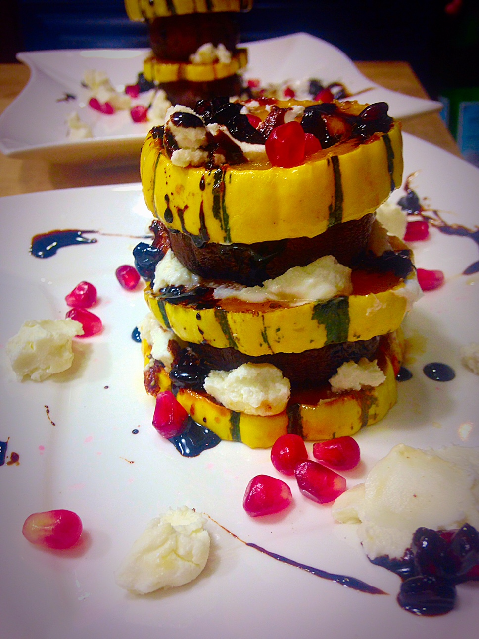 delicata squash with goat cheese and portobello mushroom